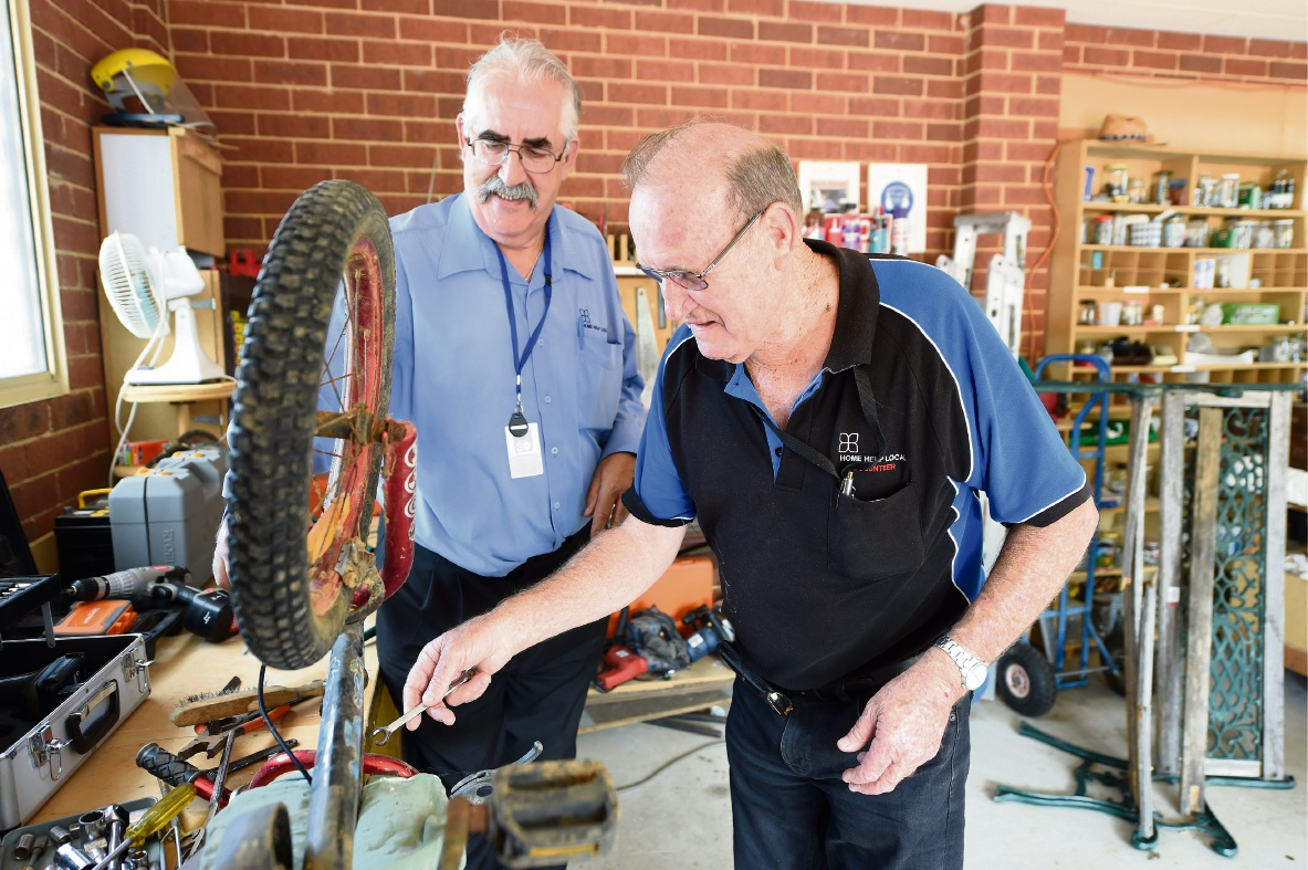 Men's shed co-ordinator Tony Phipps and Peter Holdcroft. Picture: Jon Hewson www.communitypix.com.au d476809