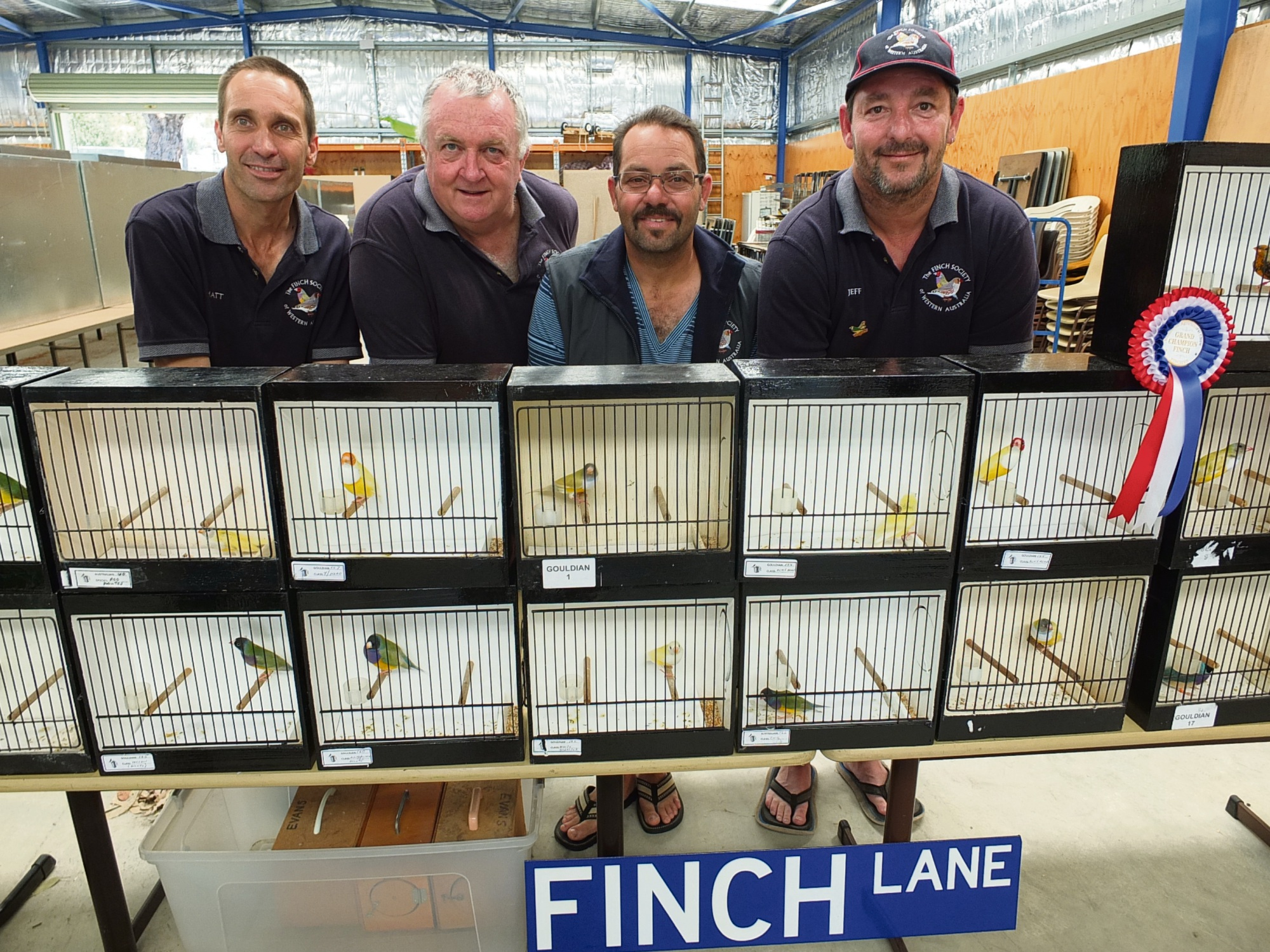WA Finch Society members Matt Creemers Neil Creighton, Frank Zammit and Jeff Evans.