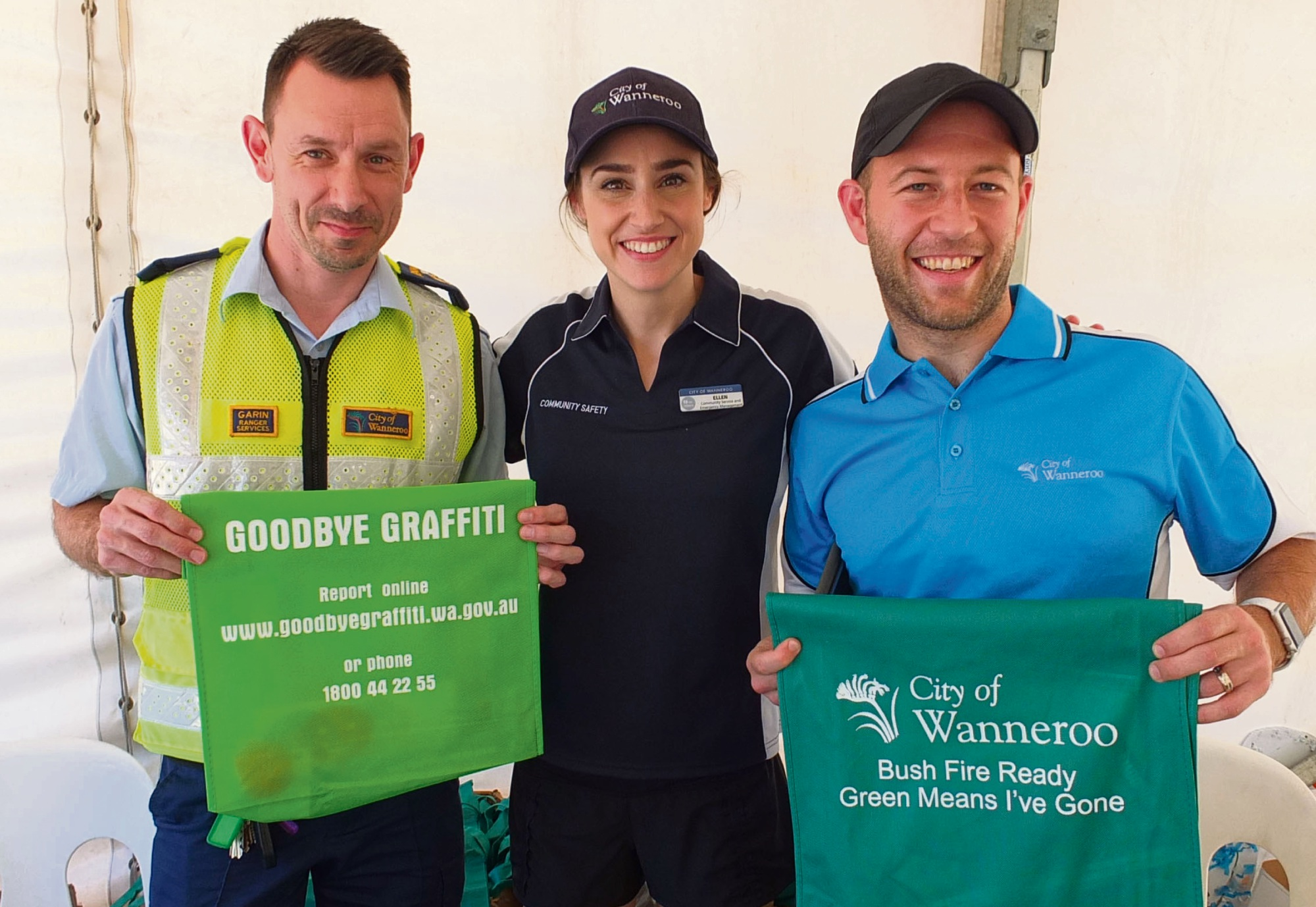 City of Wanneroo Recycling staff Garin, Ellen and Josh.