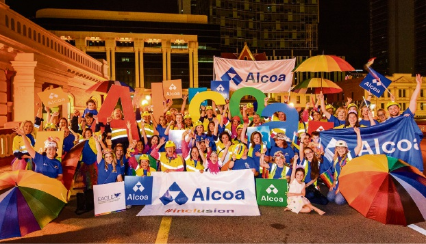 The Alcoa team walking in the Northbridge Pride Parade.
