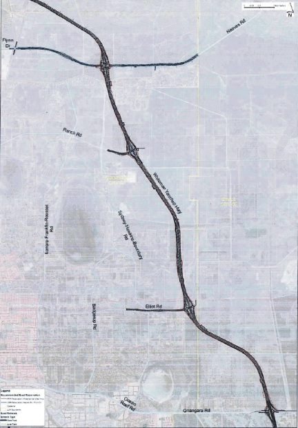 A map of the proposed Whiteman Yanchep Highway alignment.