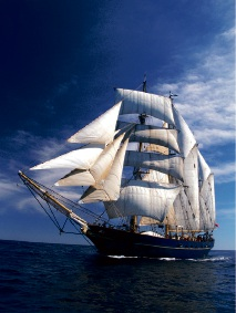 STS Leeuwin II under full sail.