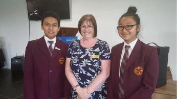 Mandurah Catholic College teacher Theresa Ilsley with students Micaela Lazaroo and Mark Ajero.