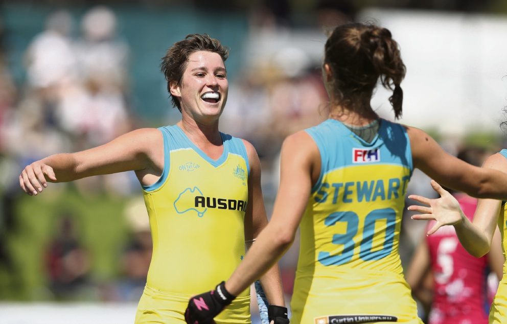 WA's Hockeyroos Kathryn Slattery and Grace Stewart will face off against Spain at Guildford Grammar next year. Picture: Slattery Stewart