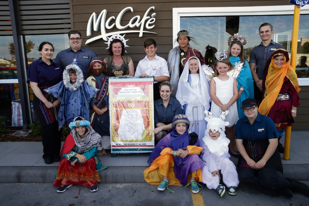 Nativity play actors and McDonald's Yanchep staff. Picture: Martin Kennealey
