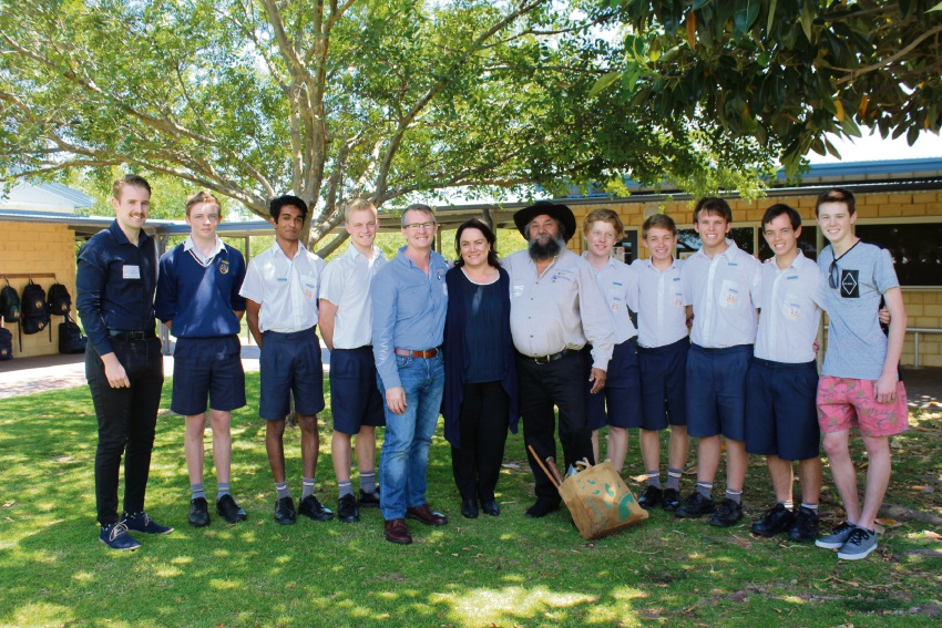Mandurah Baptist College staff and students with FISH chief executive Mark Anderson and Aboriginal elder Koodah Cornwell.