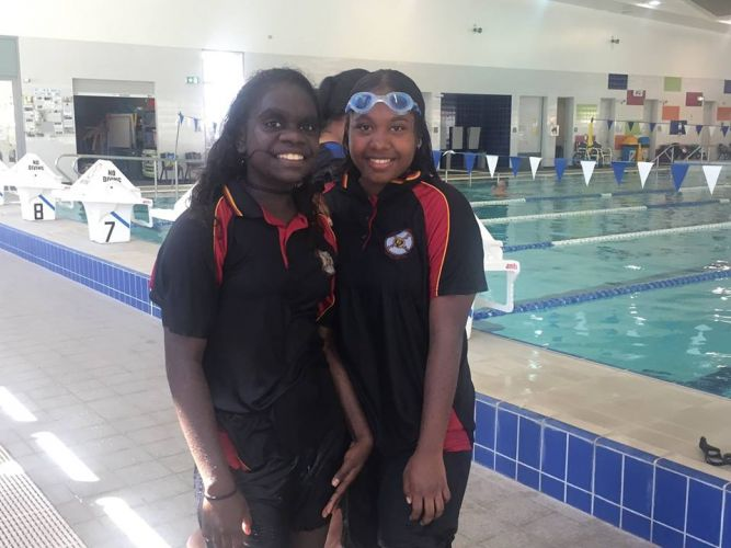 Clontarf Aboriginal College students Shaneal Karadada-Bundamarra and Ola James.