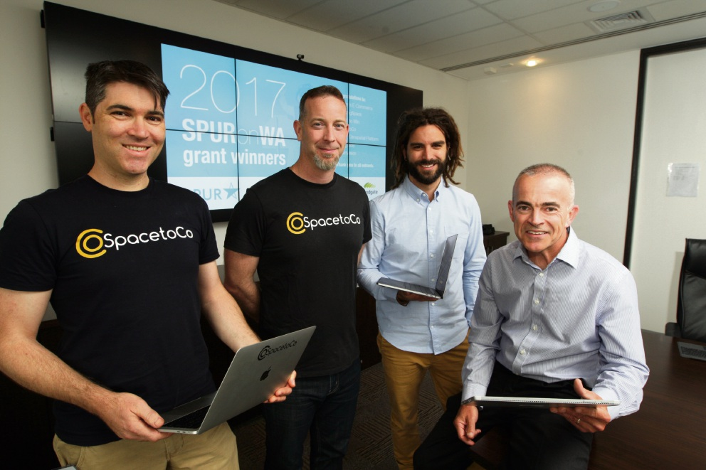 Jeremy Hurst with the SpacetoCo team Daniel McCullen, Daniel Franco and Mike Evans (Acting Director of Commercialisation).