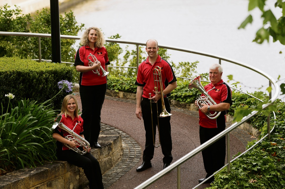 City of Perth Brass Band members Jo Bryant (Mt Hawthorn), Elizabeth-Ann Williamson (Oakford), Michael Wolter (Caversham) and Ray Treen (Mirrabooka). Picture: Andrew Ritchie