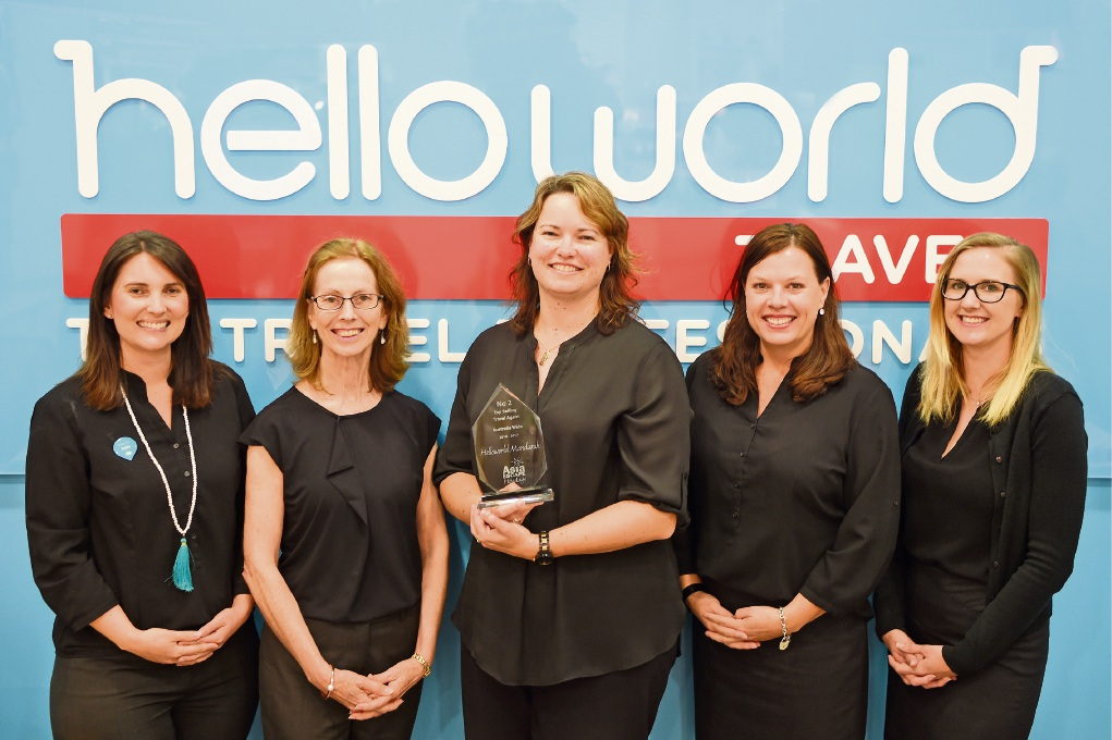 Jodie Melvin, Linda Hosking, Keeley Morehead, Jacquie Dean and Jessica McDonald from Helloworld Travel Mandurah.