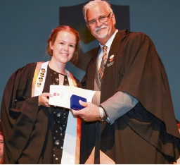 Keith Svendsen (BSC Principal) with Meg Willans ATAR Dux.