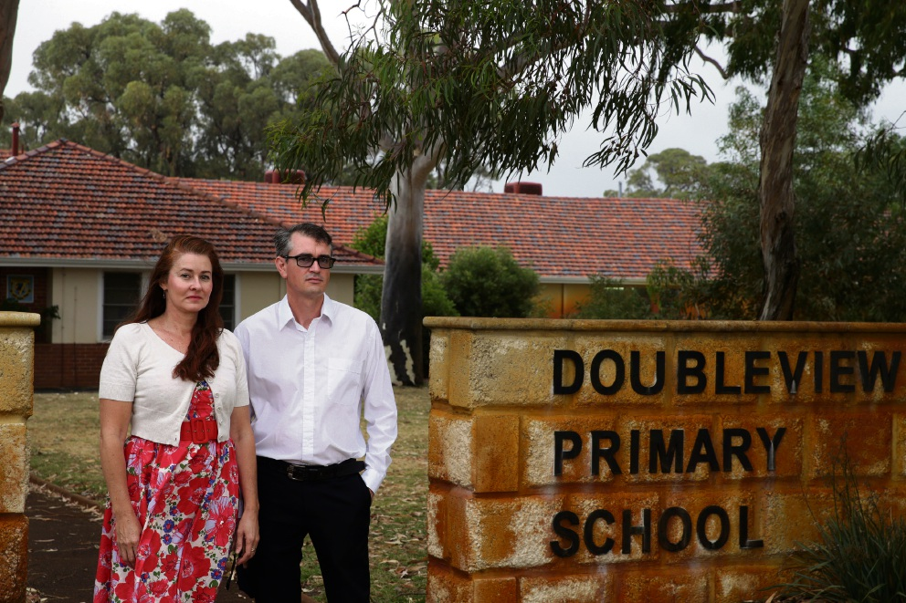 Objectors to the proposed relocation of the International School of WA to Doubleview, Lisa Thornton and Stuart McDonald. Picture: Martin Kennealey d476505