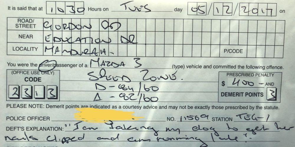 The speeding fine in question.