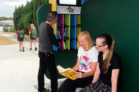 City of South Perth libraries staff Kim Oeij, Kerrin Hampson and Crystal Larsen at a Bookstop on Murray Street, Como.