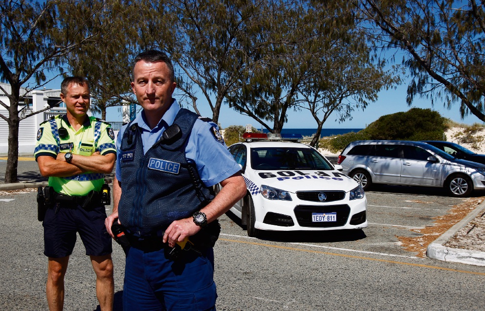 Sgt Nathan Trenberth and Snr Constable Mark Baldwin from Fremantle Police Station in the car park at Port Beach. Picture: Marie Nirme www.communitypix.com.au   d477094