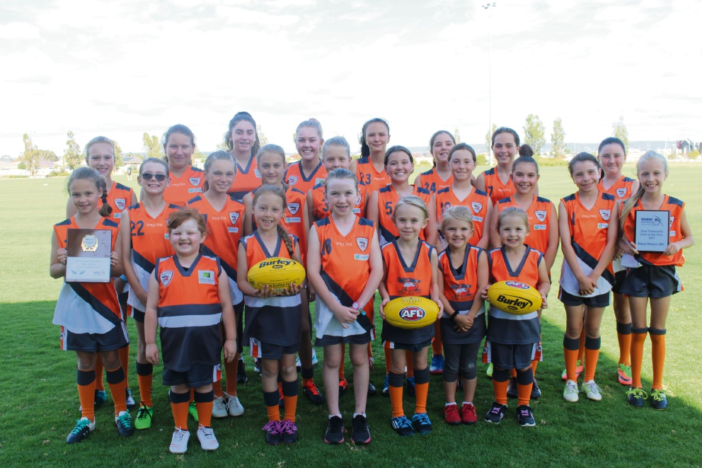 The Piara Waters JFC girls are among the more than 92,700 females playing football in WA.