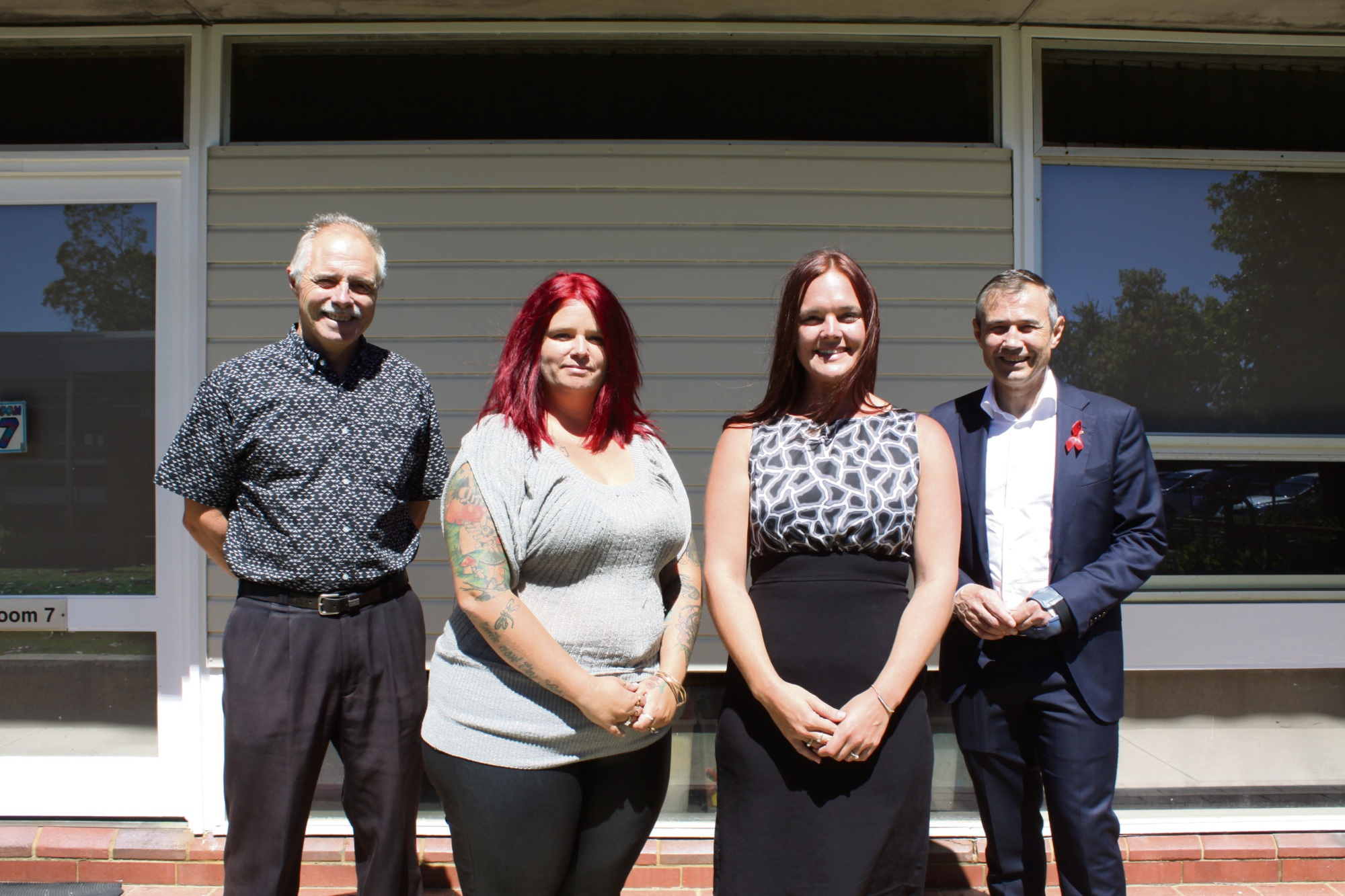 North Parmelia PS principal Peter Elsegood, P&C canteen manager Nikita Fisher, school council chairperson Emma Heedes and Deputy Premier Roger Cook.