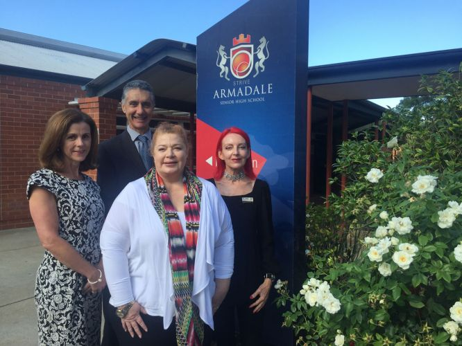 Department of Education Director Student Support Services' Catherine Shepherd, Armadale MLA Tony Buti, Education and Training Minister Sue Ellery and Armadale SHS principal Mary Griffiths.