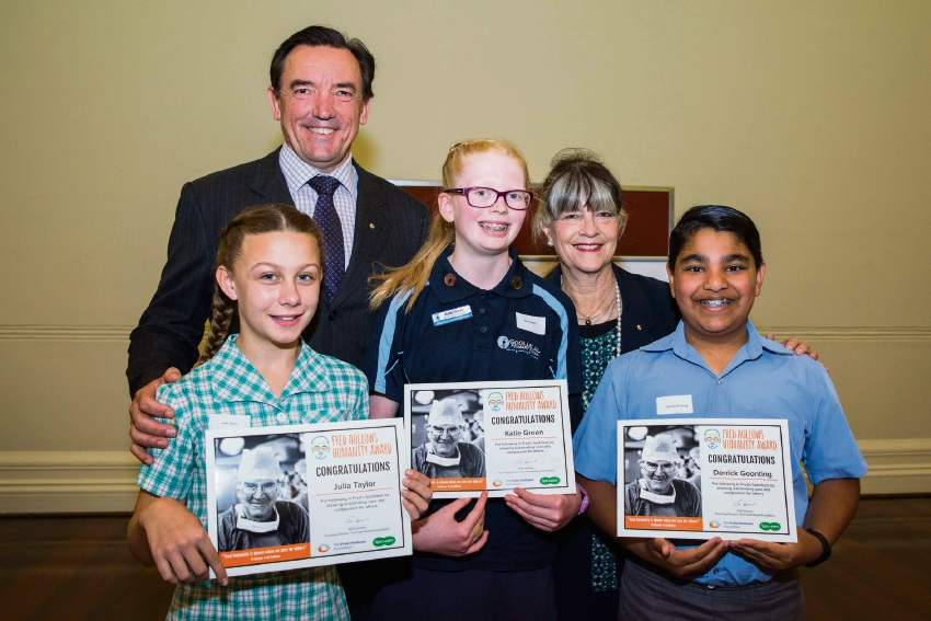 Youth Minister Peter Tinley with Fred Hollows Humanity Award recipients Julia Taylor, Katie Green and Derrick Goonting and The Fred Hollows Foundation founding director Gabi Hollows.