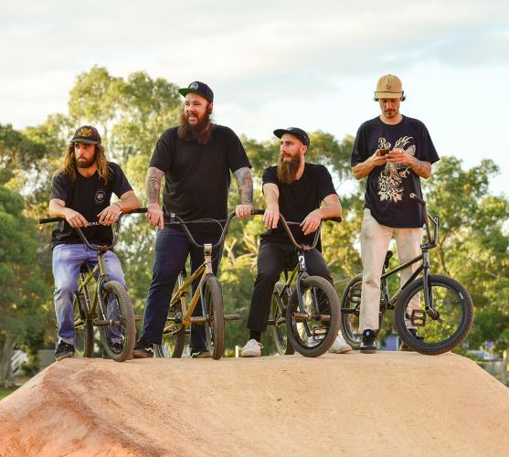 A new pump track in Hamilton Hill was example of one youth project completed in the City in 2017. Luke Snelling, Mike Lee, Callan Stibbards and Jake Corless are pictured atop it. Photo: Conor McGrath/City of Cockburn