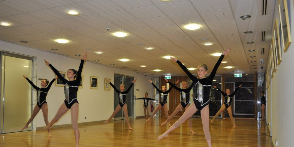 PIC: performers from Stellar Calisthenics Club at the Council offices during the grant presentation ceremony.