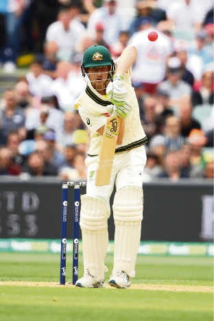 Cameron Bancroft batting on day 1 of the Second Ashes Test in Adelaide.