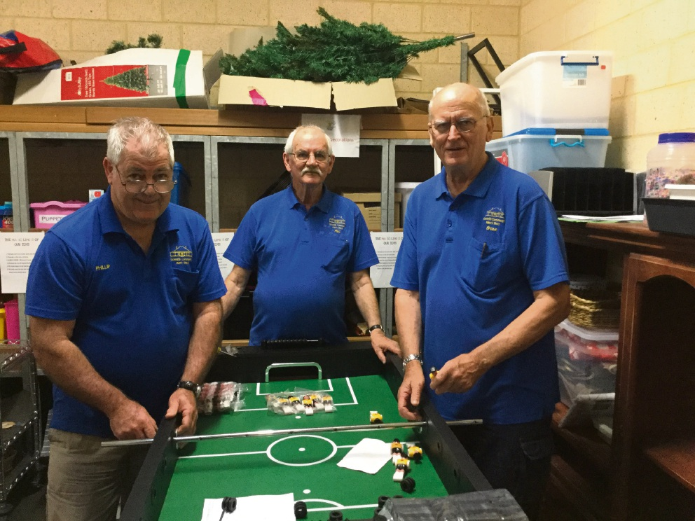 Gosnells' Men's Shed members in Yale Primary School's new rewards room.