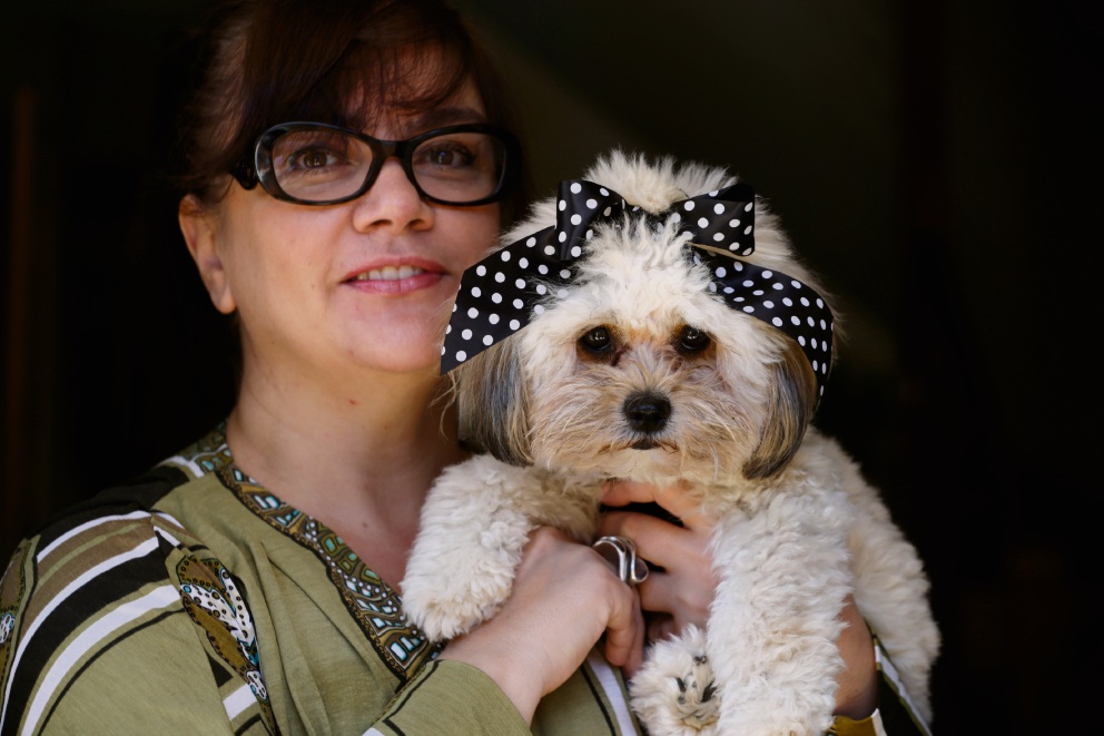 Mariana Logan and her award-winning puppy Xandee. Picture: Andrew Ritchie.