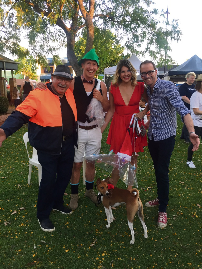 New Inglewood on Beaufort patron Vince Garreffa and chairman Damien Giudici with winners of last week's dog show