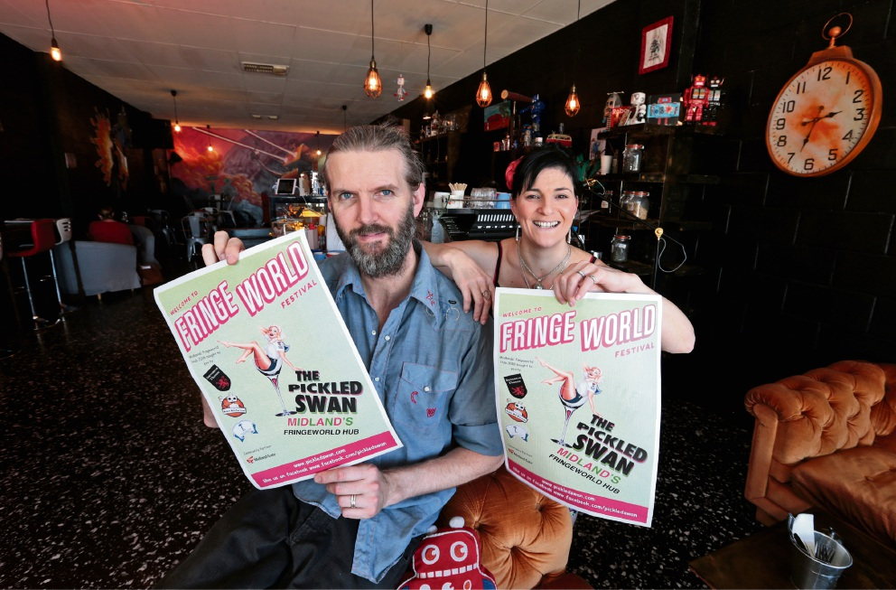 L-R: Neil Wilson (Owner of Robot Bun Factory) and Tabetha Vagliviello (Owner of Stevenson Theatre). Getting ready for the Midland hub of the Fringe World Festival. Midland Dance Studio, Robot Bun Factory and Seventh Ave are teaming up for Midland hub of the Fringe World Festival.
