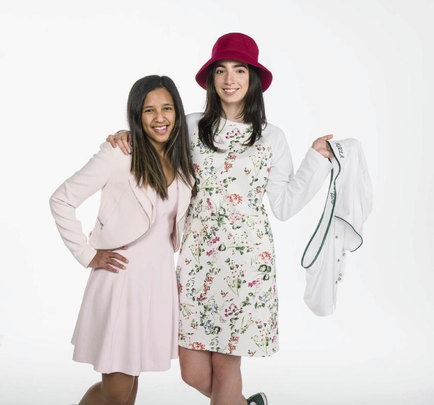 SunSmart Fashion Garment Project winner Aqeela Isaacs with model Alma Kuschel who is wearing Aqeela's design.