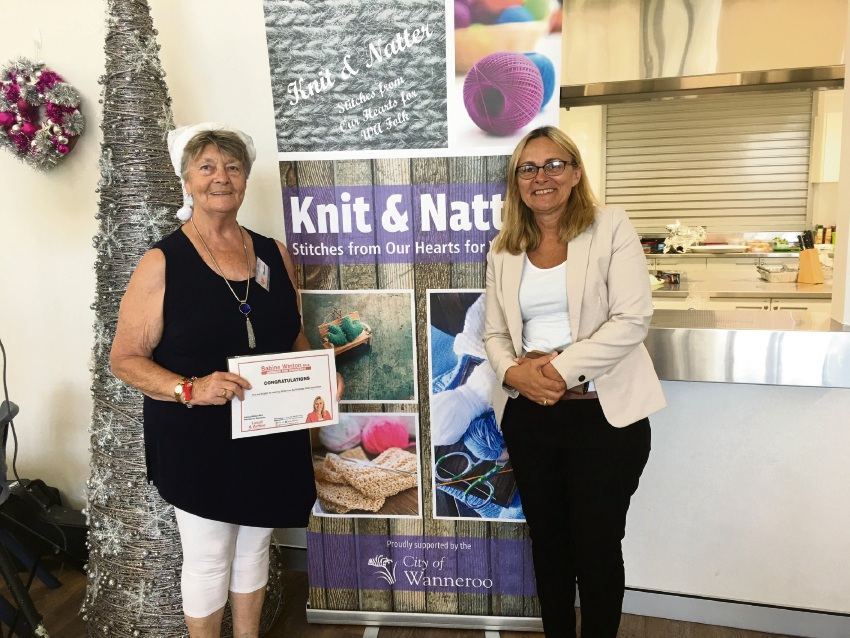 Knit and Natter founder Eleanor Rigby and Wanneroo MLA Sabine Winton.