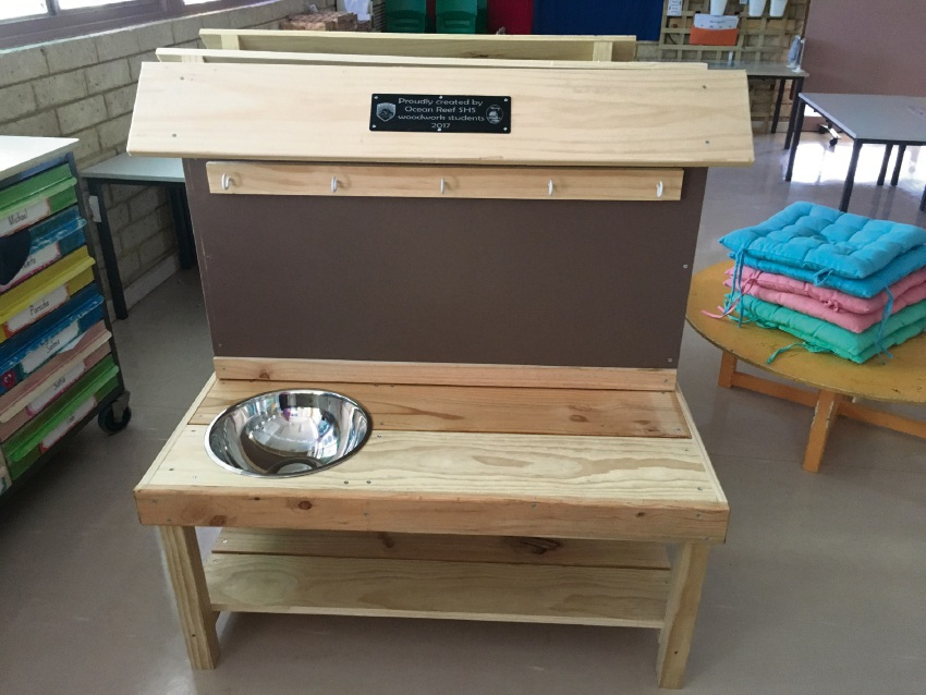 A mud kitchen built by Ocean Reef Senior High School woodwork students.