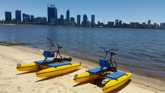 Skyline HydroBikes' owner Greg Galvin test riding his HydroBike at the South Perth foreshore.
