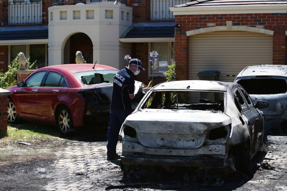 The burnt cars at the Matheson Road home, Applecross. Picture: Matt Jelonek d477462