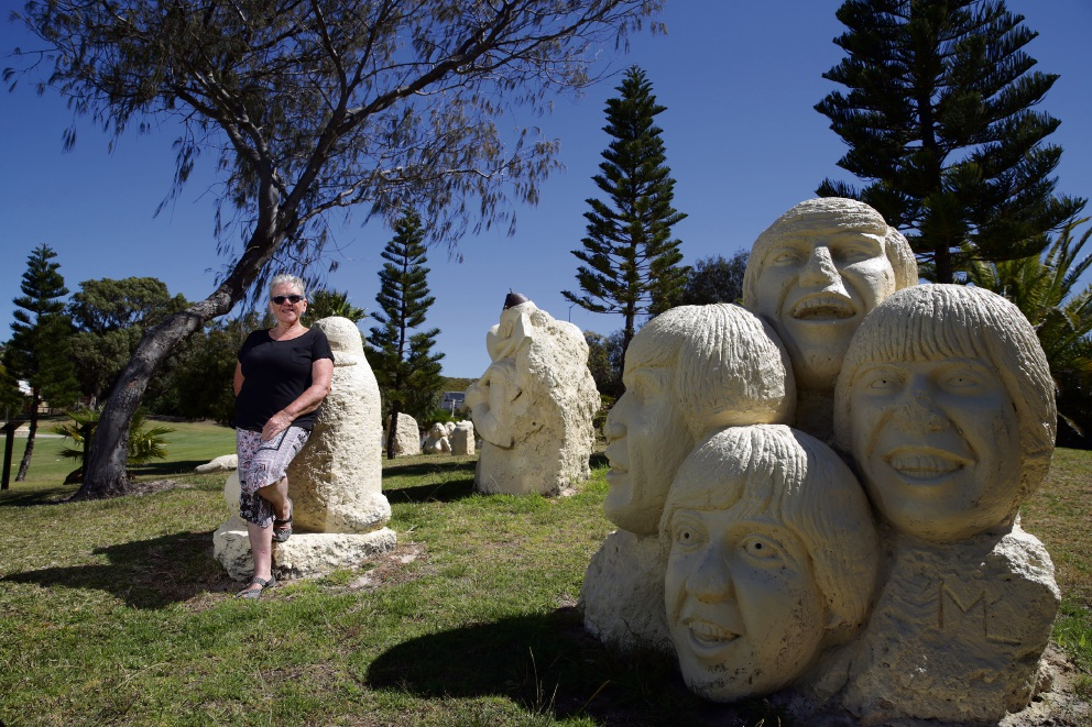 Local artist Suzanne Logue with Le Buse statues. Picture: Martin Kennealey d477155