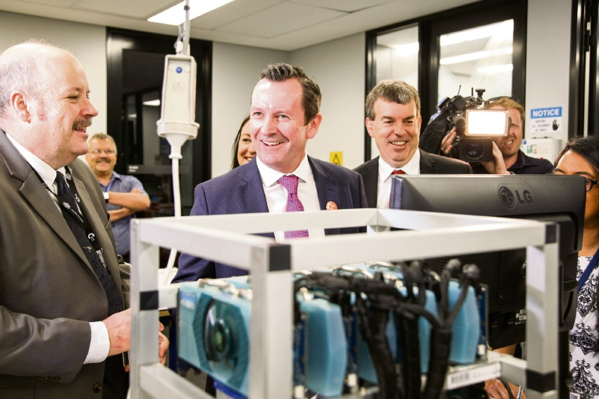 Premier Mark McGowan with ECU's Security Research Institute director Craig Valli and Innovation Minister Dave Kelly.
