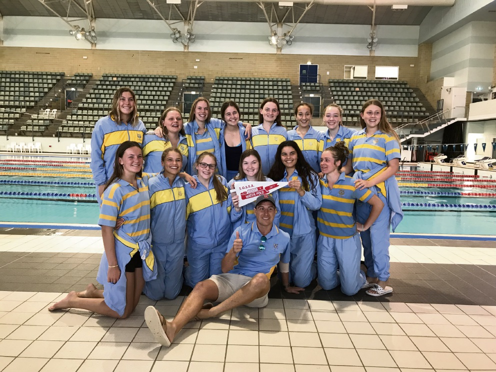 St Hilda's Senior B water polo team with coach Ryan Atkinson.