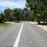 Police markings on Eucalyptus Boulevard, where teenager Jacob Cummins died.