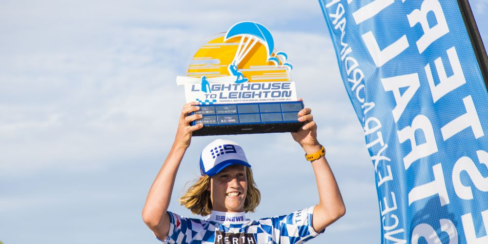 Nedlands 17-year-old Mani Bisschops won the Marc Sprod Trophy at the eight annual Lighthouse to Leighton kiteboard race.