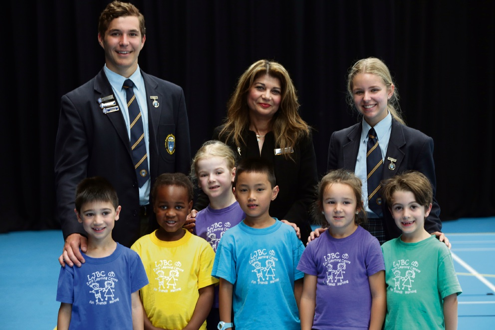Principal Dawn Clements with head boy Zachary Oosthuizen and head girl Emily Scott and pre-primary students Daniel, Zoe, Sophie, Timothy, Bellarisa and Yianni. Picture: Martin Kennealey d477271