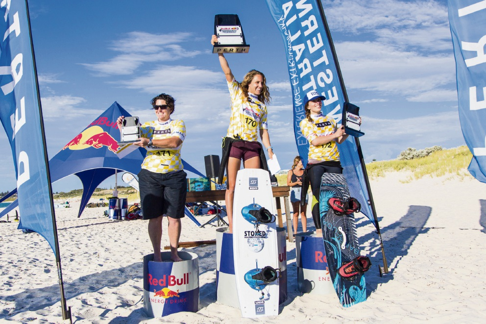 Red Bull Lighthouse to Leighton Women's Twin Tip podium winners Kathryn Davies, from Coodanup, (third), Colleen Carroll from Oregon, USA (first), and Rachael Hughes, from Shoalwater (second).