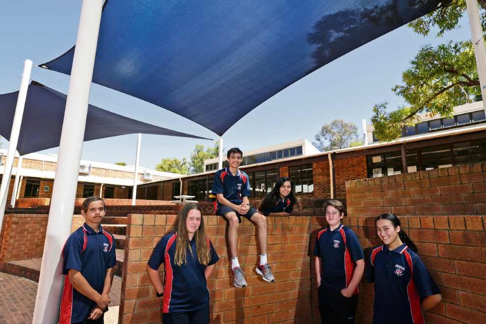 Year 8 students Malcolm Garlett, Emily Agoni, Darcy Dhu, Julia Parrella, Jack Gray and Ella Ferguson.Photo: Martin Kennealey