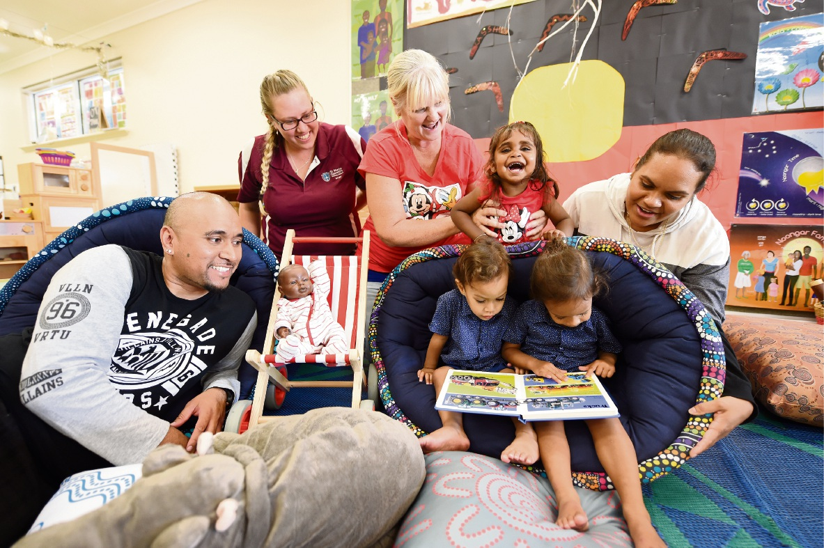 Shem Toomalatai, Tenelle Climo, Brenda Trousselot, Veronica Moody-Kickett , and Shannon Toomalatai with Jaikobe and Shem. Picture: Jon Hewson www.communitypix.com.au d477280