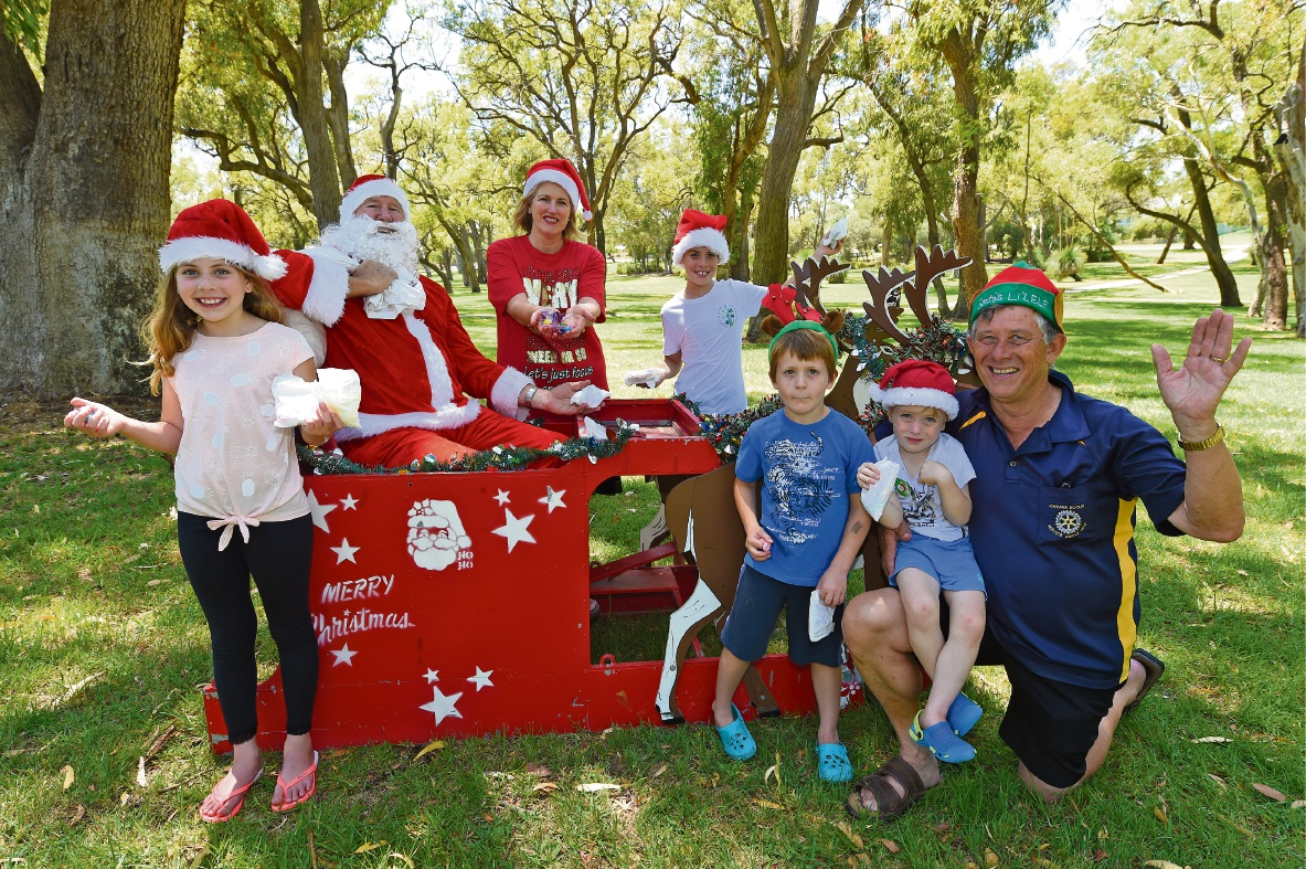 Kwinana kids and Santa ready for this year's Christmas Day Lolly Run.