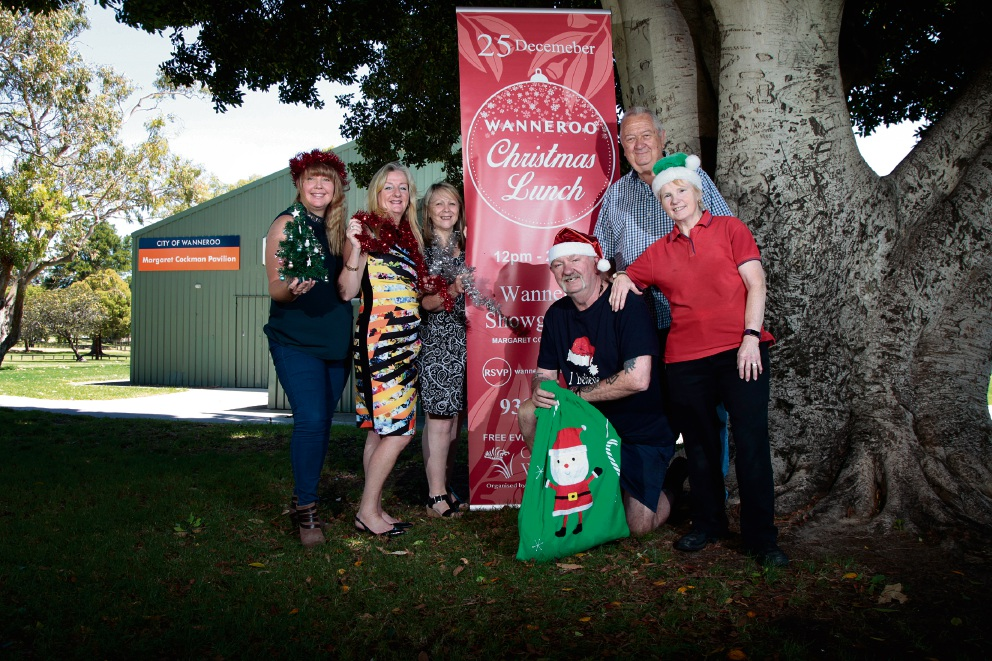 (L-R) Louise Powell (event co-ordinator), Mayor City of Wanneroo Tracey Roberts, Rev. Narelle Collas (from Caramar Uniting Church), Mike Tullett (volunteer), Rev. Jim Crawley (from St Peters Anglican Church) and Carol Tullett (volunteer). Photo: Marie Nirme
