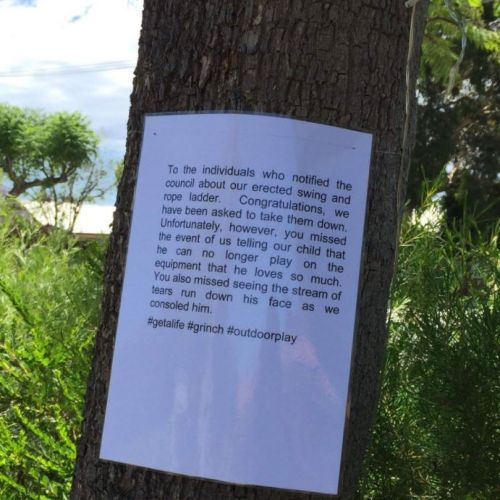 A North Perth family was forced to take down their son's rope swing after complaints were made to City of Vincent.