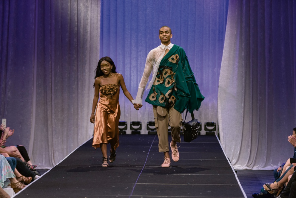 Ancille Kashaba on the runway with one of her models. Picture: Songy Knox