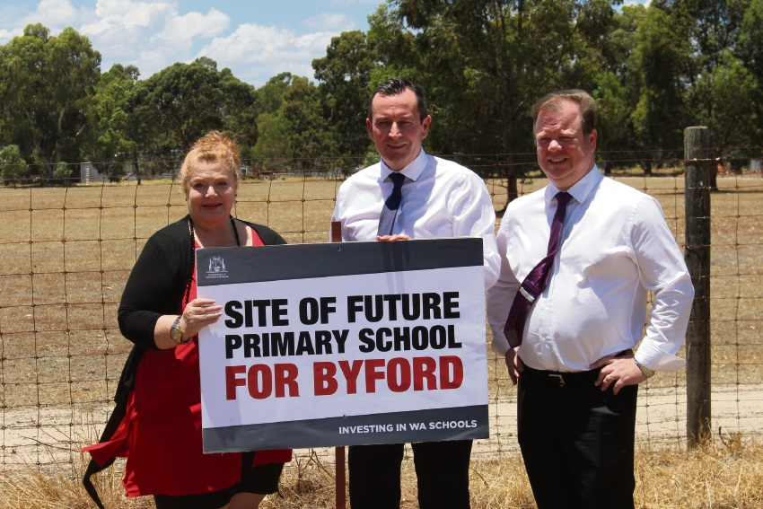 Education minister Sue Ellery, Premier Mark McGowan and Member for East Metropolitan Region Matthew Swinbourn.