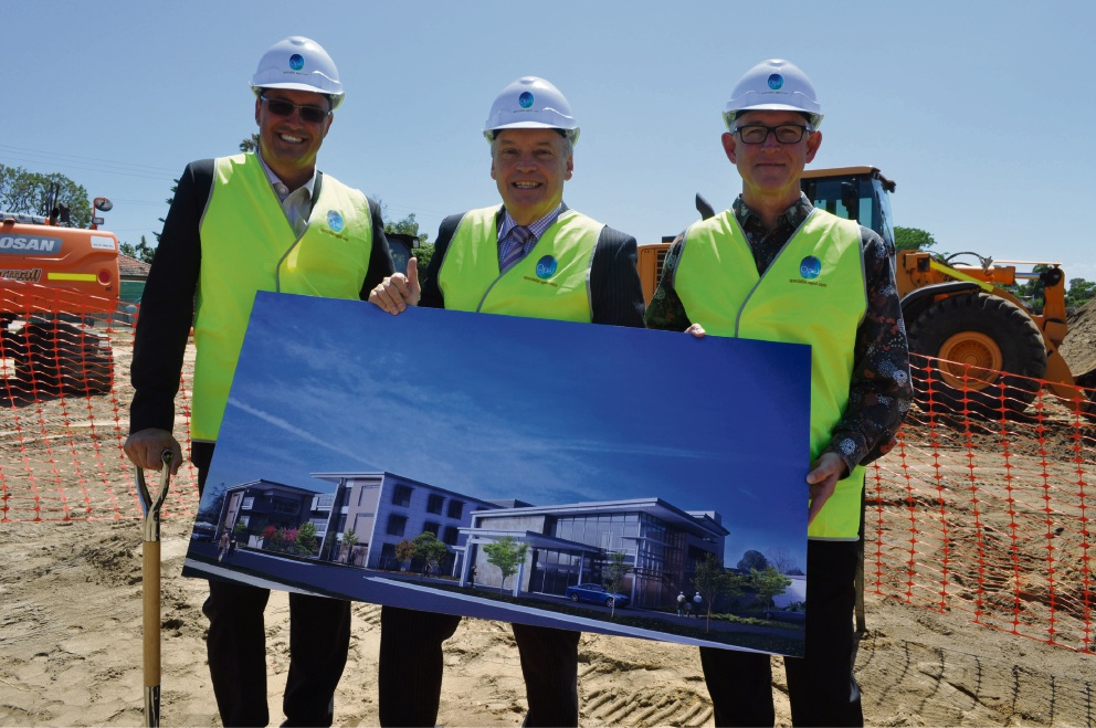 Opal's WA general manager Daymon Joseph, Melville Mayor Russell Aubrey and T and Z Architects director Peter Leighton.